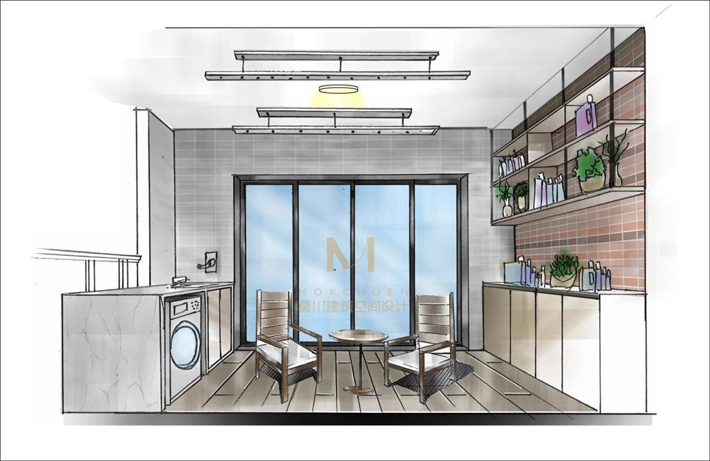 绿景虹湾阳台装修手绘效果图