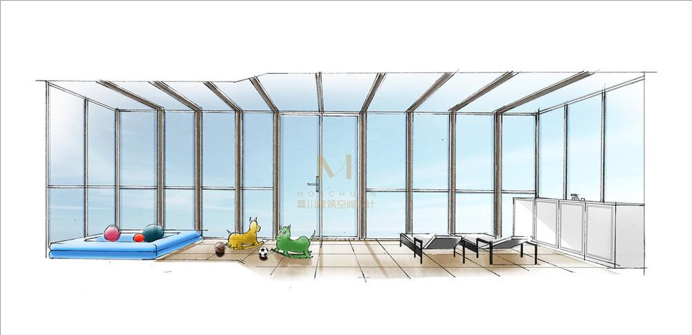 万科城市花园玉兰苑阳台装修手绘效果图