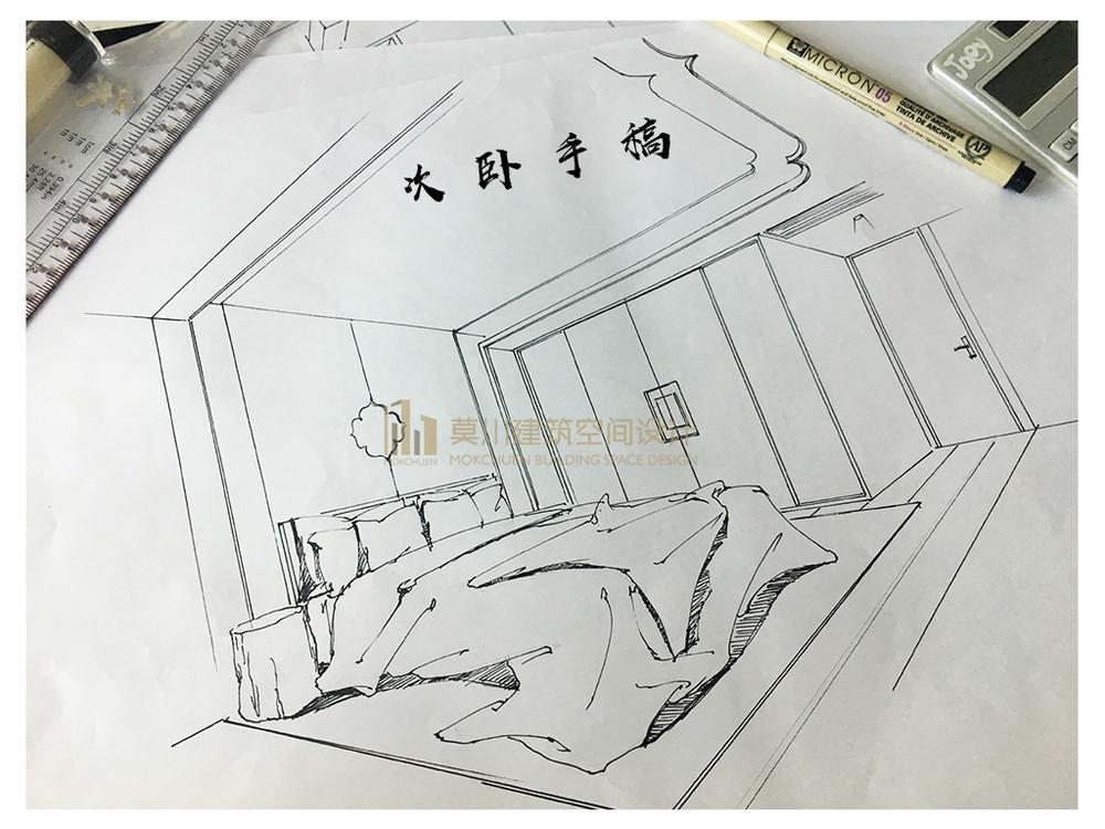 港铁天颂次卧装修效果图之设计师手稿