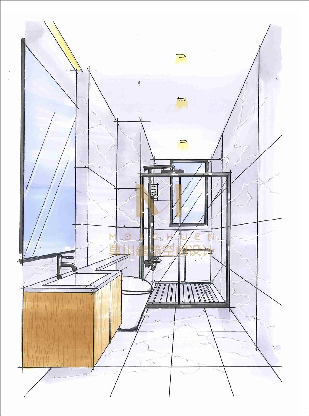 卫生间手绘效果图
