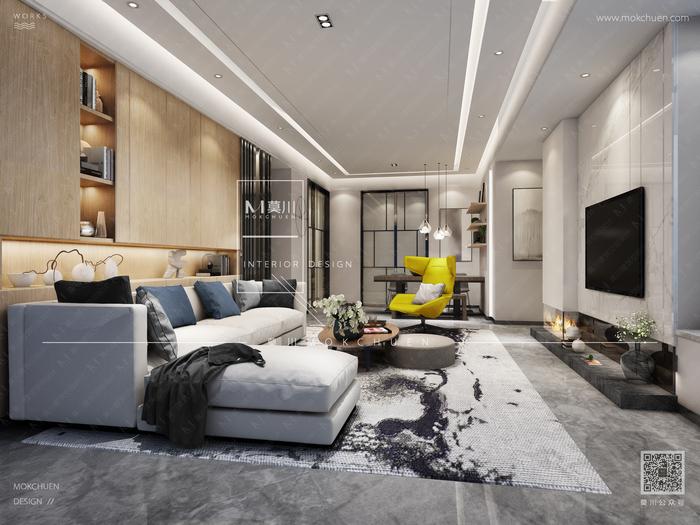 碧海云天现代130平米客厅装修效果图