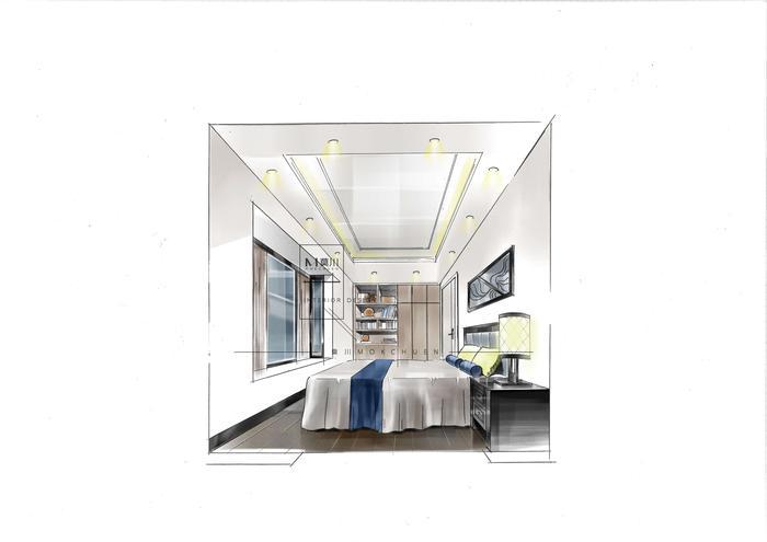 碧海云天现代130平米老人房手绘效果图