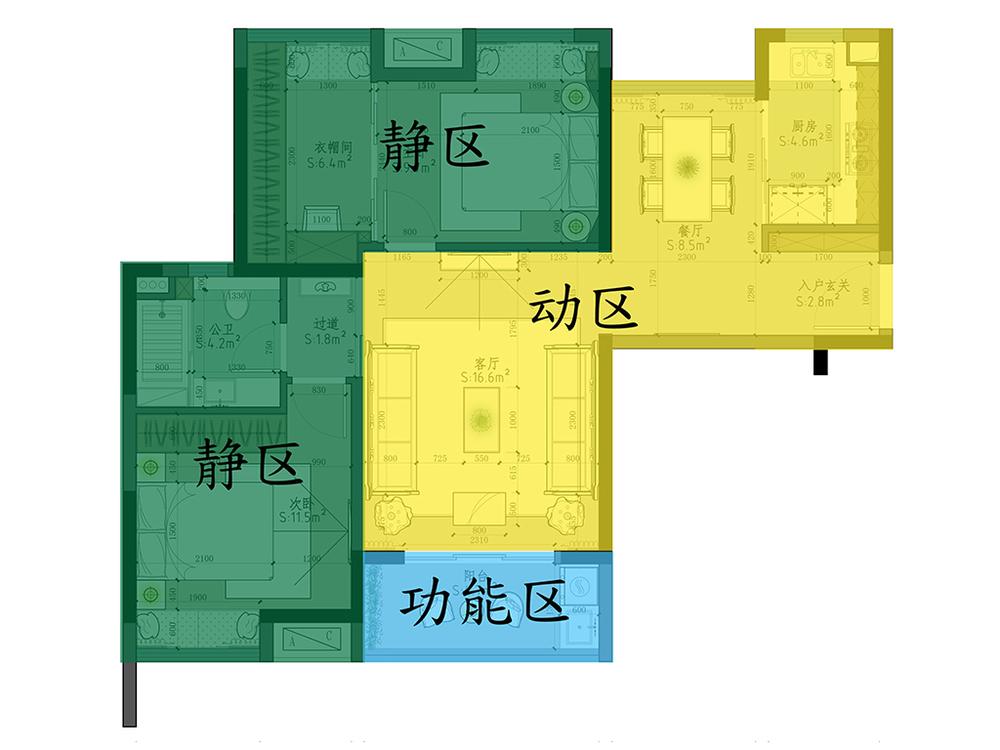 室内设计动静分区示意